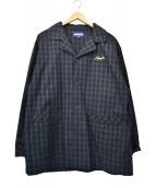 Lafayette(ラファイエット)の古着「パジャマジャケット」 ネイビー×グリーン