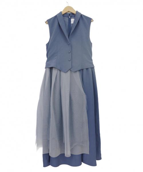 Ameri VINTAGE(アメリビンテージ)Ameri VINTAGE (アメリビンテージ) TULLE DOCKING DRESS ブルー サイズ:下記参照の古着・服飾アイテム