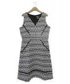 Taylor dresse(テイラードレス)の古着「ノースリーブワンピース」 ホワイト×ブラック