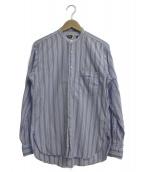 Engineered Garments(エンジニアードガーメンツ)の古着「ノーカラーストライプシャツ」|ブルー×ホワイト