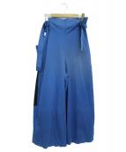 132 5. ISSEY MIYAKE(132 5. イッセイ ミヤケ)の古着「ベルト付ワイドパンツ」|ブルー