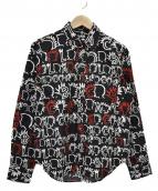 BLACK COMME des GARCONS(ブラックコムデギャルソン)の古着「総柄シャツ」 ブラック×ホワイト