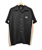Needles(ニードルス)の古着「オープンカラー刺繍半袖シャツ」|ブラック×ベージュ