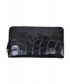 J&M DAVIDSON(ジェイエムデビッドソン)の古着「クロコ型押しラウンドファスナー財布」|ブラック