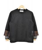 TOGA PULLA(トーガ プルラ)の古着「メッシュカットソー」|ブラック×ベージュ