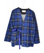 CURLY(カーリー)の古着「チェック羽織ジャケット」|ブルー×ブラック
