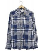 ()の古着「チェックシャツ」|インディゴ×ホワイト