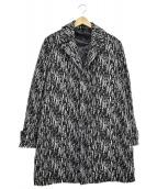 Calvin Klein(カルバンクライン)の古着「ウール混コート」|ブラック×ホワイト