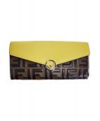 FENDI(フェンディ)の古着「ダブルFエフィズフェンディレターフラップ長財布」 ブラウン