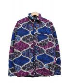 Bohemians(ボヘミアンズ)の古着「総柄ダウンシャツ」|ネイビー×パープル