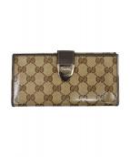 GUCCI(グッチ)の古着「クリスタルGGラウンドファスナー財布」|ベージュ