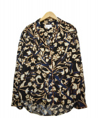 CHLOE STORA for MY PANTS(クロエストラフォーマイパンツ)の古着「プリントオープンカラーシャツ」|ブラック