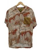 HOUSTON(ヒューストン)の古着「チョコチップカモオープンカラーシャツ」|ブラウン