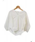 ENFOLD(エンフォルド)の古着「ストレッチブロードランタンアームプルオーバー」 ホワイト