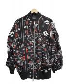 DIESEL(ディーゼル)の古着「レーヨンボンバージャケット」|ブラック×レッド