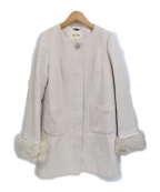LAISSE PASSE(レッセパッセ)の古着「ノーカラーポケットファーコート」|ピンク