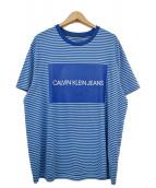 Calvin Klein Jeans(カルバンクラインジーンズ)の古着「プリントボーダーカットソー」|ブルー