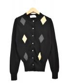 JOHN SMEDLEY(ジョンスメドレ)の古着「アーガイルカーディガン」|ブラック