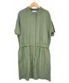 LACOSTE(ラコステ)の古着「リネン混サファリ調ドレス」|セージグリーン