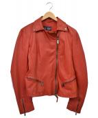 ARMANI JEANS(アルマーニジーンズ)の古着「ダブルライダースジャケット」|レッド