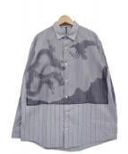 FRAPBOIS(フラボア)の古着「水墨画ドッキングシャツ」|ネイビー