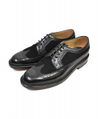 GORDON&BROS(ゴードンアンドブロス)の古着「スウェード切替ウィングチップシューズ」|ブラック