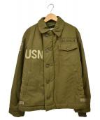 GOLD×松岡佳博(ゴールド×マツオカヨシヒロ)の古着「A-2デッキペイントジャケット」|カーキ