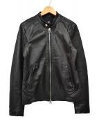 HARE(ハレ)の古着「ラムレザーシングルライダースジャケット」|ブラック