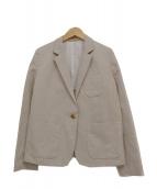 MARGARET HOWELL(マーガレットハウエル)の古着「リネンブレンド1Bテーラードジャケット」|ライトグレー