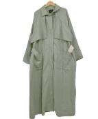 KBF(ケイビーエフ)の古着「コットンリネンボリュームコート」|グリーン