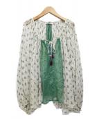 Mes Demoiselles...(メドモワゼル)の古着「18SS シースルーブラウス」|ホワイト×グリーン