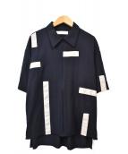 ETHOSENS(エトセンス)の古着「半袖ZIPシャツ」|ネイビー