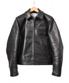 Aero LEATHER(エアロレザー)の古着「HIGHWAYMAN /ホースハイドレザージャケット」|ブラック