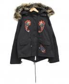 PINKO(ピンコ)の古着「ペイズリースパンコールフーデッドコート」|ブラック