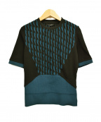 BERARDI(ベラルディ)の古着「半袖ニット」|ブラック×グリーン
