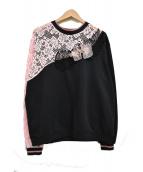 PINKO(ピンコ)の古着「デザインレーススウェット」|ブラック×ピンク