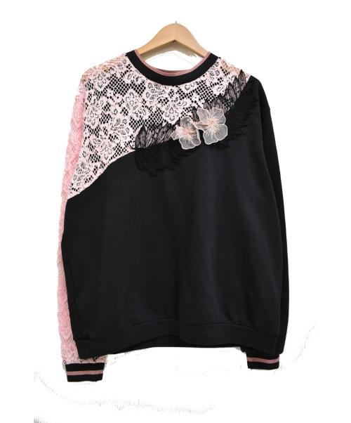 PINKO(ピンコ)PINKO (ピンコ) デザインレーススウェット ブラック×ピンク サイズ:Sの古着・服飾アイテム