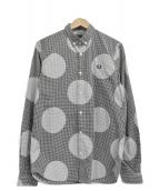 FRED PERRY(フレッドペリー)の古着「ドットプリントギンガムチェックシャツ」|ブラック