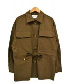 EMMEL REFINES(エメル リファインズ)の古着「コットンリネンツイルサファリジャケット」|カーキ