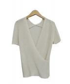 BALLSEY(ボールジィ)の古着「リネンポリエステルリブ カシュクールプルオーバー」|ホワイト