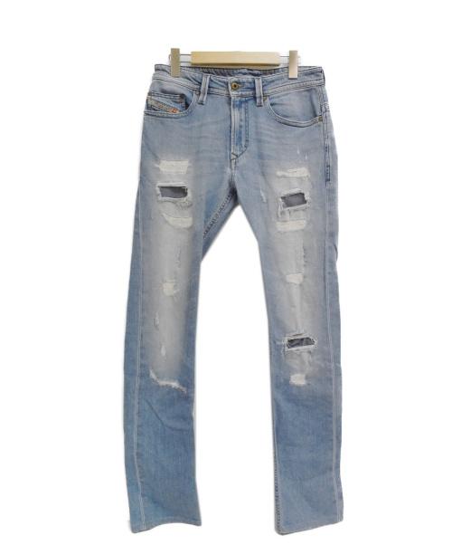 DIESEL(ディーゼル)DIESEL (ディーゼル) THAVARダメージデニムパンツ インディゴ サイズ:W26の古着・服飾アイテム