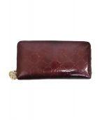 GUCCI(グッチ)の古着「シャイニーグッチシマ ラウンドジップ長財布」|ボルドー