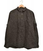 nest Robe(ネストローブ)の古着「インクコーティングリネンレギュラーカラーシャツ」 ブラック