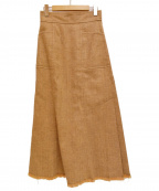 EMMEL REFINES(エメル リファインズ)の古着「ツイードフリンジマーメイドスカート」|オレンジ