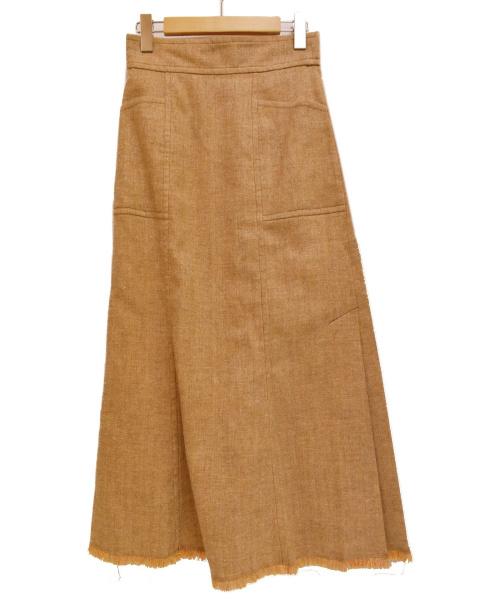 EMMEL REFINES(エメル リファインズ)EMMEL REFINES (エメル リファインズ) ツイードフリンジマーメイドスカート オレンジ サイズ:S 未使用品の古着・服飾アイテム