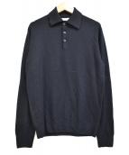 CRUCIANI(クルチアーニ)の古着「27ゲージ長袖ウールニットポロシャツ」|ネイビー