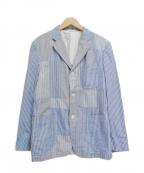 COMME des GARCONS HOMME(コムデギャルソン オム)の古着「ストライプパッチワークテーラードジャケット」|サックスブルー