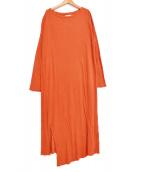 unfil(アンフィル)の古着「別注raw silk ribbed-jersey dress」|オレンジ