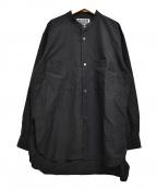 KIIT(キート)の古着「コットンシルクグログランバンドカラーシャツ」|ブラック