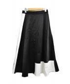 GRACE CLASS(グレースクラス)の古着「バイカラーサテンスカート」|ブラック